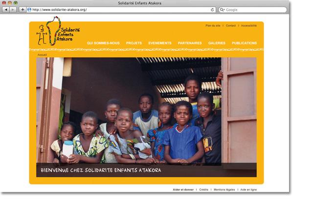 Page d'accueil du site Solidarité Enfants Atakora