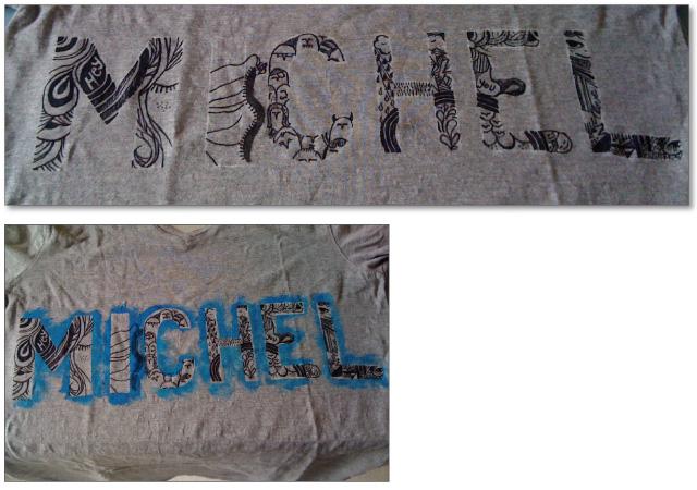 Lettrage peint à la main sur T-shirt
