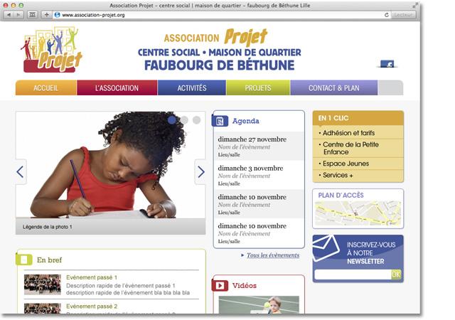 Association Projet page d'accueil