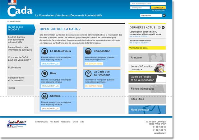 Page d'accueil de la Cada
