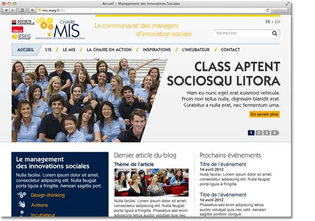 Site internet de la chaire MIS - Page d'accueil