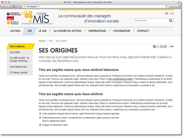 Site internet de la chaire MIS - Page intérieure