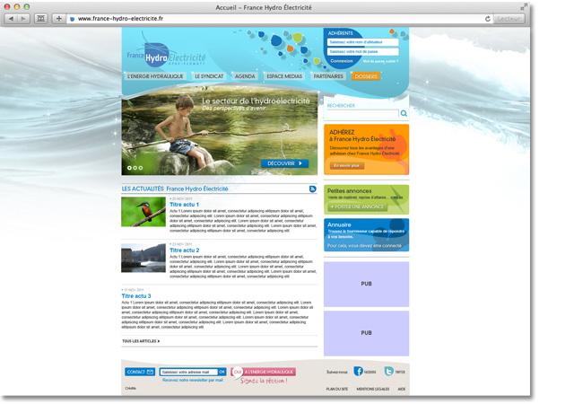 Site internet France Hydro Electricité : page d'accueil