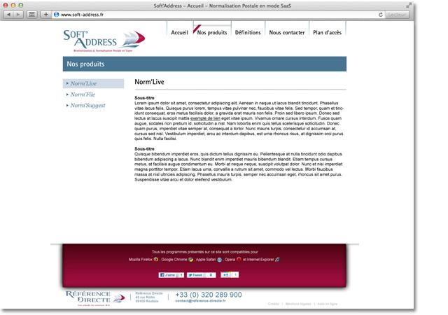 Site internet Soft Address : page intérieure
