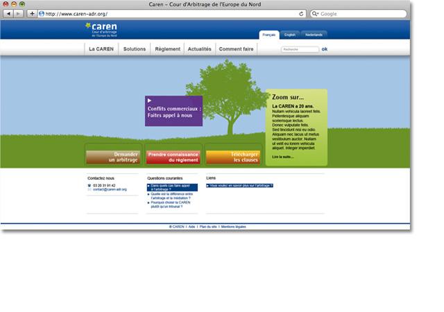 Page accueil site internet caren-adr.org
